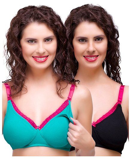 d6269c0b691d6 Inner Sense Antimicrobial Maternity Nursing Bra Pack of 2 - Green Black