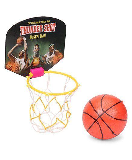 ratnas wonder shot basketball with net hoop color print may vary