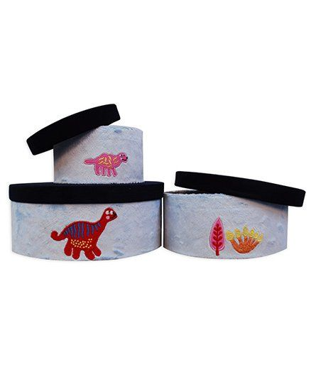 Abracadabra Round Storage Boxes Set Of 3 Dino Patch - Grey