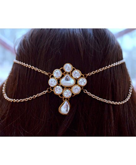 Pretty Ponytails KundanTikka Matha Patti Gold Headchain - Gold