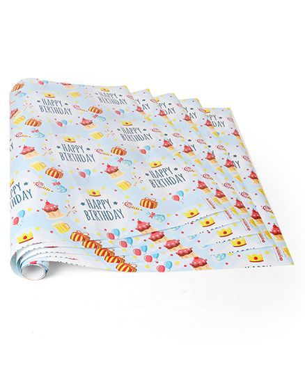Karmallys Gift Wrapper Code-18 Blue - 5 Wrapper