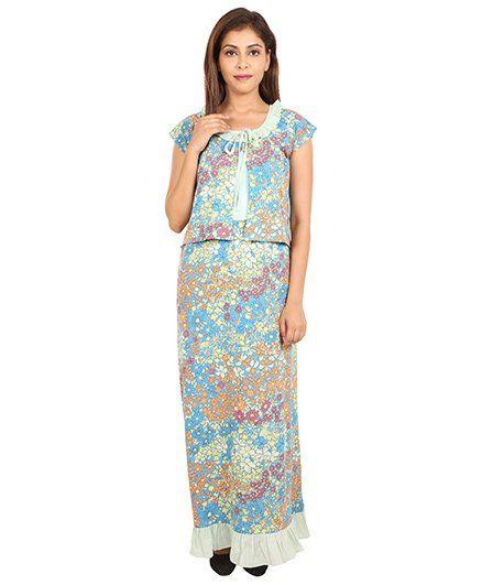 9teenAgain Maternity Nursing Nighty Floral Print - Sky blue