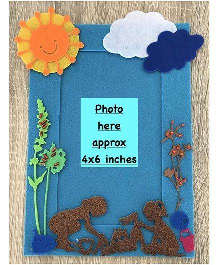 Kalacaree Kids Playing In Sandpit Theme Magnetic Photo Frame - Blue