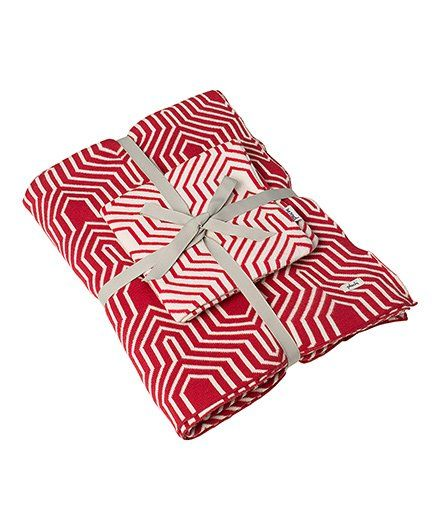 Pluchi Printed Knitted Set Of Cotton Bedsheet & Cushion Cover - Red & White