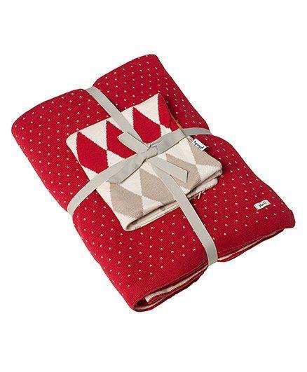 Pluchi Set Of Polka Dot Cotton Bedsheet & Cushion Cover - Red Stone Orange
