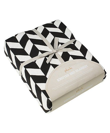 Pluchi Am & A Knitted King Size Bed Cotton Blanket - Black & White