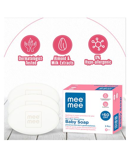 Mee Mee Nourishing Baby Soap With Almond & Milk Pack of 3 - 75 gm each