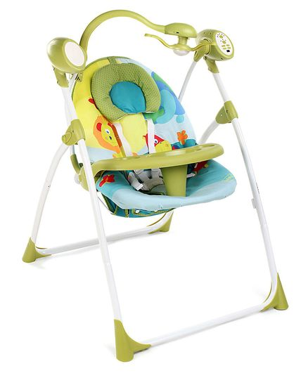 Babyhug Gaiety Electronic Swing With Timer & 5 Point Safety Harness - Blue Green