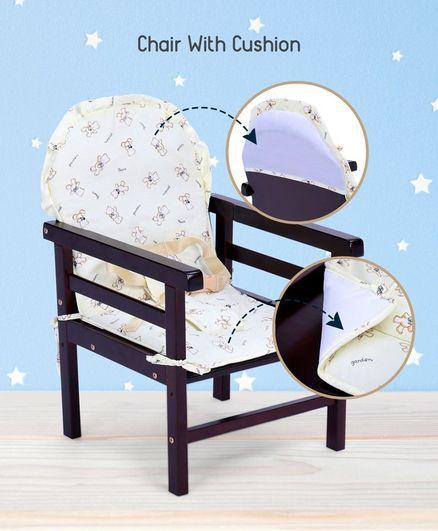 babyhug verona 2 in 1 wooden high chair dark brown online in india