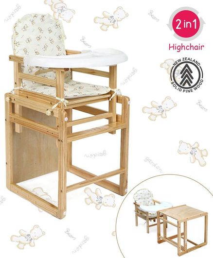 Babyhug Verona 2 In 1 Wooden High Chair With Removable Cushioned Seat & 2 Point Safety Harness - Natural Finish