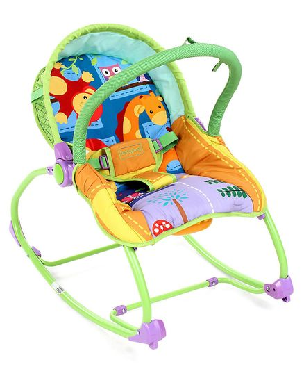 Babyhug Delight 3 In 1 Infant To Toddler Rocker With Safety Harness & Reclining Seat - Multicolour