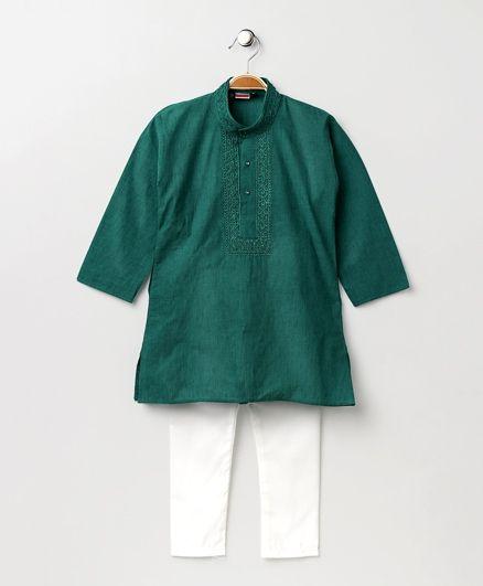 Babyhug Full Sleeves Kurta With Full Length Pyjama - Green