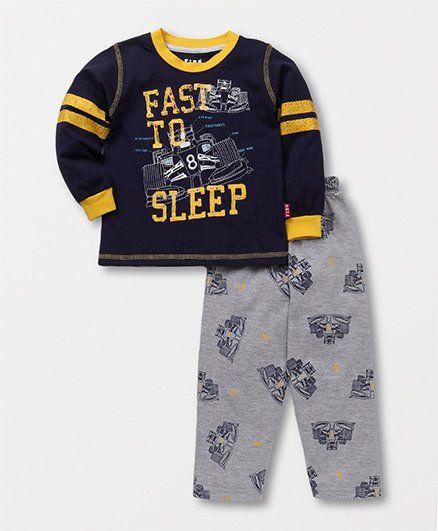 Buy Fido Full Sleeves Night Suit Fast To Sleep Print Navy   Grey for ... e6dedfbf0