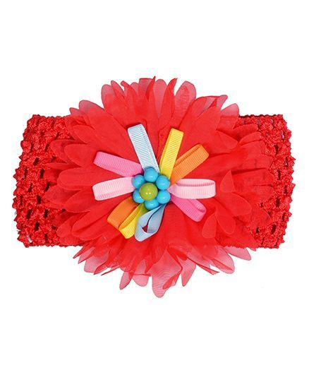 Miss Diva Colourful Ribbon Flower Broad Soft Headband - Red