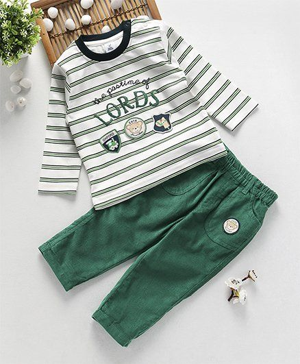 5819dd0ea5a ToffyHouse Full Sleeves T-Shirt   Corduroy Pant Stripes Print - Green
