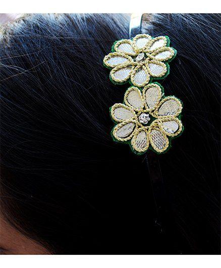 Pretty Ponytails Gota Flower Hairband - Golden & Black