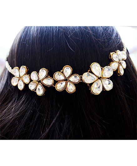 Pretty Ponytails Kundan Flower Hairchain - Golden & White