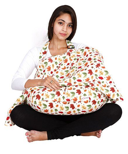 Lulamom Printed Nursing Cover And Feeding Pillow Combo - Red