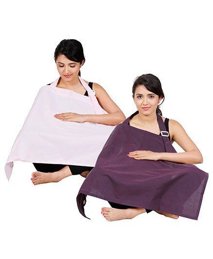 Lulamom Full Coverage Extra Wide Nursing Cover Pack Of 2 LM27014 - Light Pink & Purple