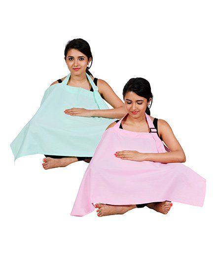 Lulamom Full Coverage Extra Wide Nursing Cover Pack Of 2 LM27014 - Pink & Green