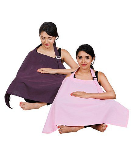 Lulamom Full Coverage Extra Wide Nursing Cover Pack Of 2 LM27014 - Purple & Pink
