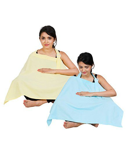 Lulamom Full Coverage Extra Wide Nursing Covers Pack of 2 - Yellow Sky Blue