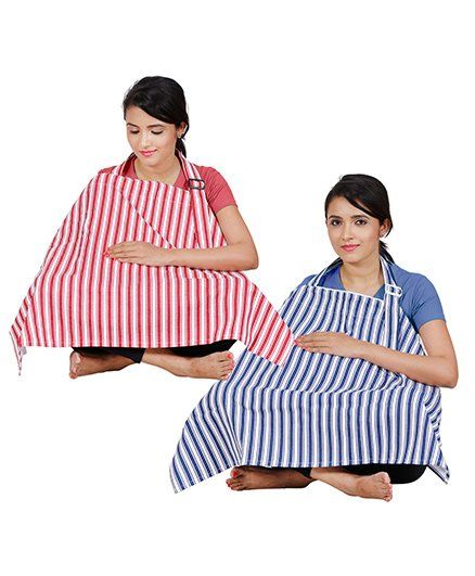 Lulamom Full Coverage Extra Wide Stripe Nursing Covers Pack of 2 - Red Blue