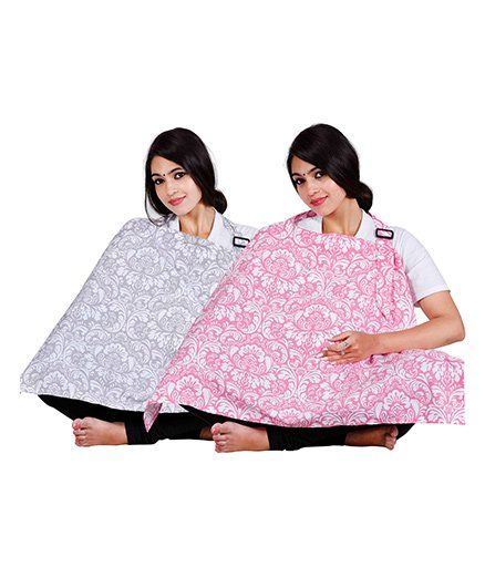 Lulamom Nursing Covers Damask Print Pack of 2 - Pink Grey