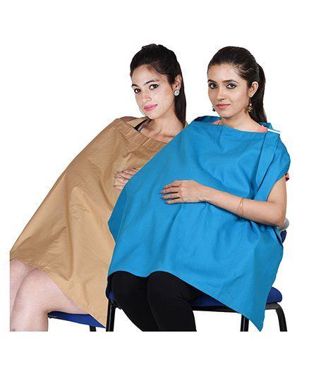 Lulamom Stripe Nursing Covers Pack of 2 - Blue Khaki