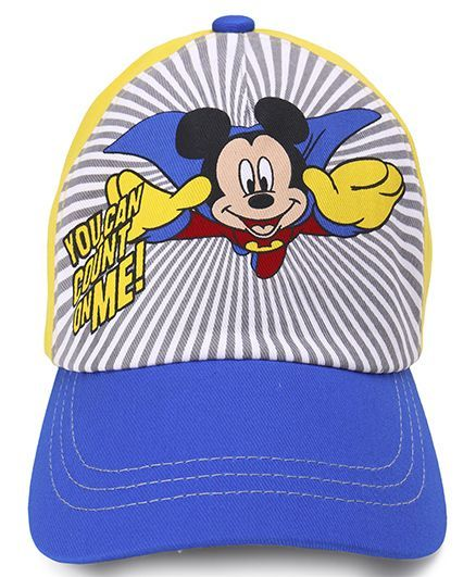 202a302471a Babyhug Denim Summer Cap Mickey Mouse Print Blue   Yellow ...
