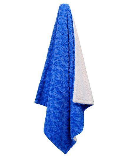 Abracadabra Reversible Luxury Rose Pattern Polyester Blanket- Blue White