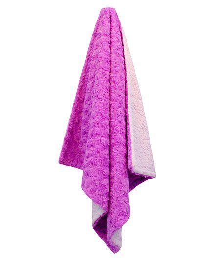 Abracadabra Reversible Luxury Rose Pattern Polyester Blanket- Pink White