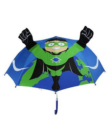 Abracadabra 3D Pop-up Umbrella Super Hero Theme - Blue Green