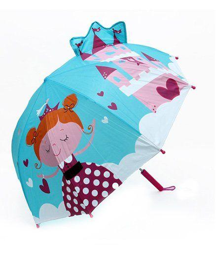 Abracadabra 3D Pop-up Umbrella Fairy Castle Print - Aqua Blue