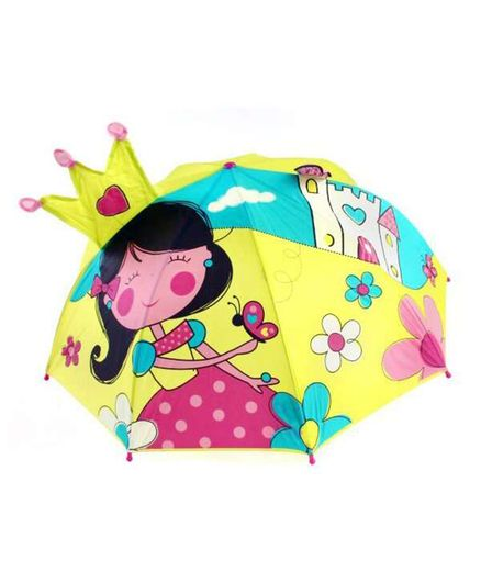 Abracadabra 3D Pop-up Umbrella Fairy Castle Print - Green Yellow