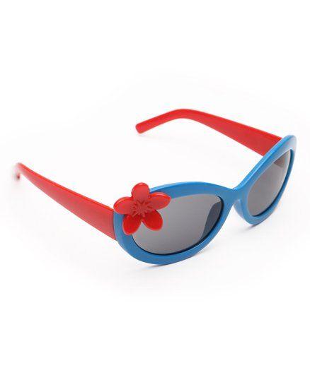 Babyhug Flower Applique Sunglass - Blue & Red