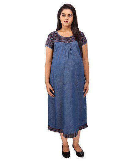 Mamma's Maternity Short Sleeves Dress Checks Print - Blue Red