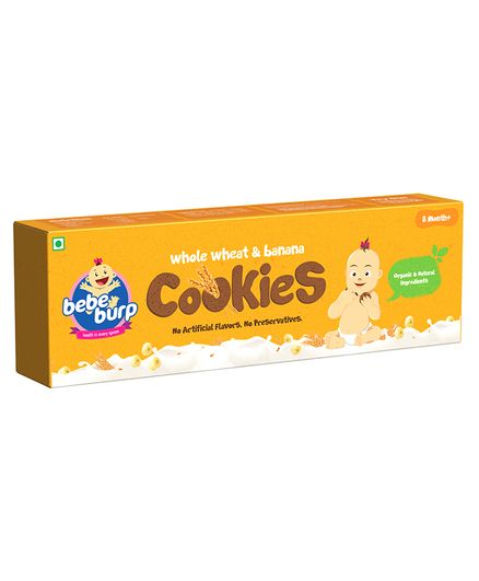 Bebe Burp Organic Baby Food Whole Wheat Cookies - 200 gm