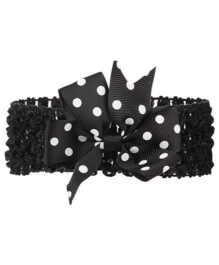 Baby Angel Polka Dot Head Band - Black