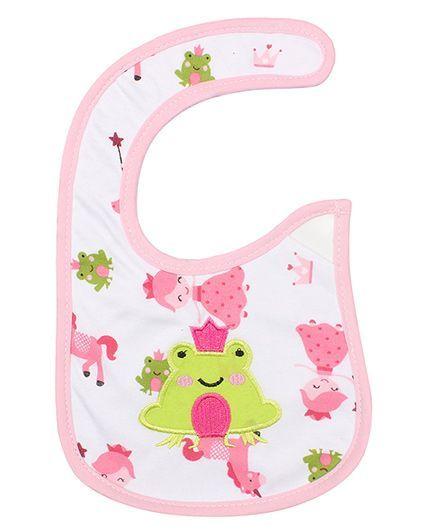 Little Hip Boutique Frog Applique Bib - Pink