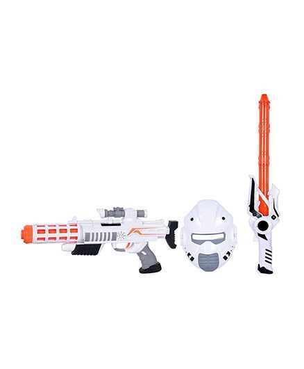 Planet of Toys Space Gun & Weapon Set With LED Light & Sound - White