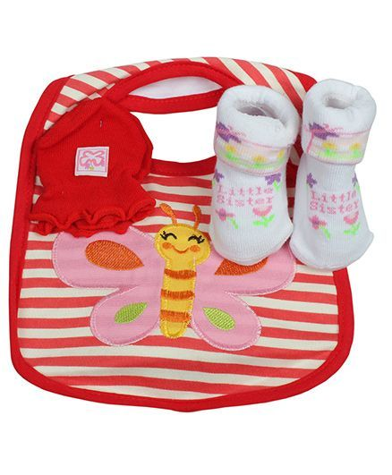 Babies Bloom Gift Set Butterfly Design Set of 3 - Red