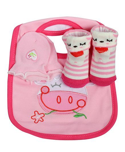 Babies Bloom Gift Set Cow Design Set of 3 - Pink