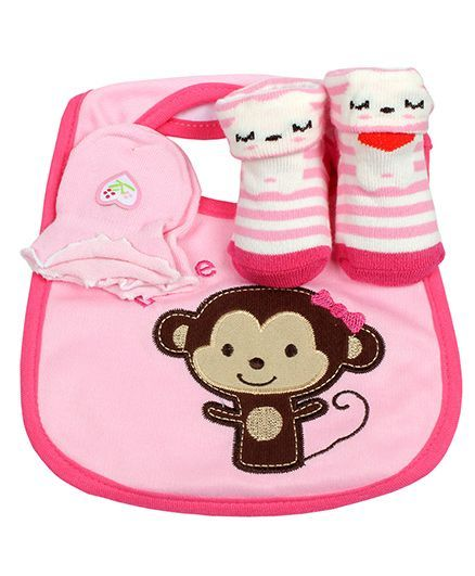 Babies Bloom Gift Set Monkey Design Set of 3 - Pink