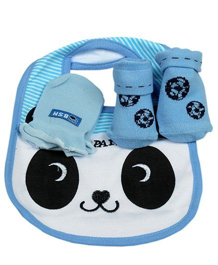 Babies Bloom Gift Set Panda Design Set of 3 - White Blue