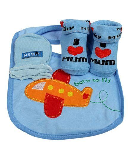Babies Bloom Gift Set Airplane Design Set of 3 - Blue