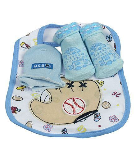 Babies Bloom Gift Set Little Brother Design Set of 3 - Blue White