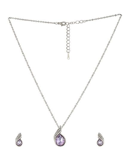 Angel GlitterCrystal Drop Studded Crystal Necklace Set - Purple