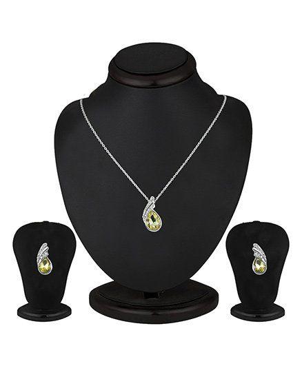 Angel GlitterCrystal Drop Studded Crystal Necklace Set - Yellow