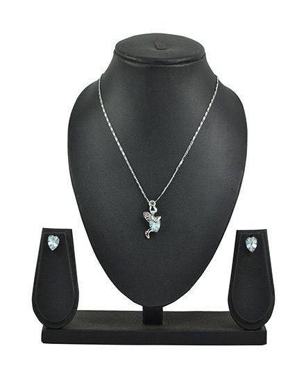 Angel GlitterFairy Holding Heart Crystal Necklace Set - Light Green